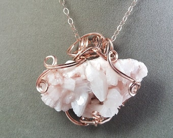 Heulandite Crystal Necklace - Rosy Pink Crystal Pendant - Crystal Healing Pendant - Rose Gold Wire Wrap Pendant - Freeform Wire Wrap Pendant