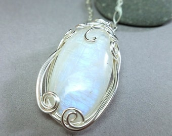 Rainbow Moonstone Pendant - Iridescent Crystal Necklace - Silver Moonstone Pendant - Hand Wrapped Silver Pendant - Gemstone Necklace