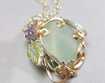 Aqua Sea Glass Pendant - Flower Necklace - Gold Sea Glass Pendant - Wrapped Gold Necklace - Wedding Jewelry -  Puerto Rico Sea Glass