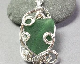 Green Sea Glass Pendant - Teal Sea Glass Pendant - Silver Sea Glass Pendant - Hand Wrapped Silver Wire Pendant - Puerto Rico Sea Glass
