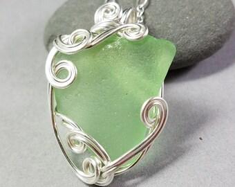 Green Sea Glass Pendant -  Silver Sea Glass Pendant - Hand Wrapped Silver Wire Pendant - Puerto Rico Sea Glass