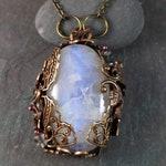 Rainbow Moonstone Necklace - Reiki Jewelry - Mystical Jewelry - Festival Jewelry - Witchy Woman - Art Nouveau Jewelry-  Butterfly Necklace