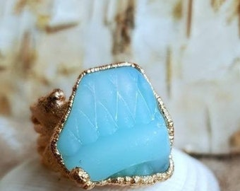 Sea Glass Ring - Turquoise Sea Glass - Milk Glass - Greece Sea Glass - Pinkie Ring - Child Ring - Rose Gold - Ring Size 2 - Sea Glass Gift