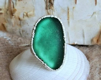 Sea Glass Ring - Teal Sea Glass - Puerto Rico Sea Glass - Electroformed Ring - Fine Silver - Ring 6 and a Half- Sea Glass Gift