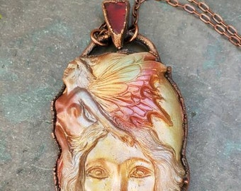 Faerie Pendant - Goddess Amulet - Fantasy Necklace - Autumn Necklace - Talisman Pendant - Gift for Fairy Lover - Sea Glass Gift