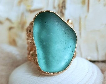 Sea Glass Ring - Teal Sea Glass - Green Sea Glass - Greece Sea Glass - Electroformed Ring - Rose Gold -  Greek Ring - Ring Size 6