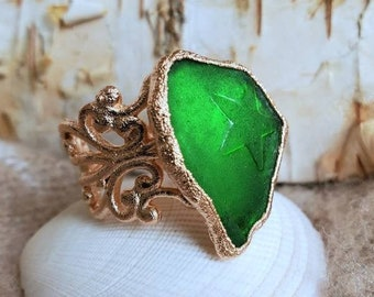 Sea Glass Ring - Emerald Sea Glass - Green Sea Glass - Greece Sea Glass - Electroformed Ring - Rose Gold - Ring Size 6 - Sea Glass Gift