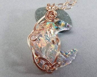 Aura Quartz Pendant - Crescent Moon Pendant - Crescent Pendant - Rose Gold Wire  Pendant - Hand Wrapped Pendant - Gift for Fairy Lover