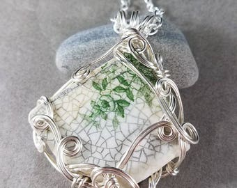 Sea Pottery Green Floral Pendant Silver Wire Wrapped
