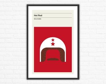 Hot Rod Minimalist Mid Century Movie Poster, Akiva Schaffer