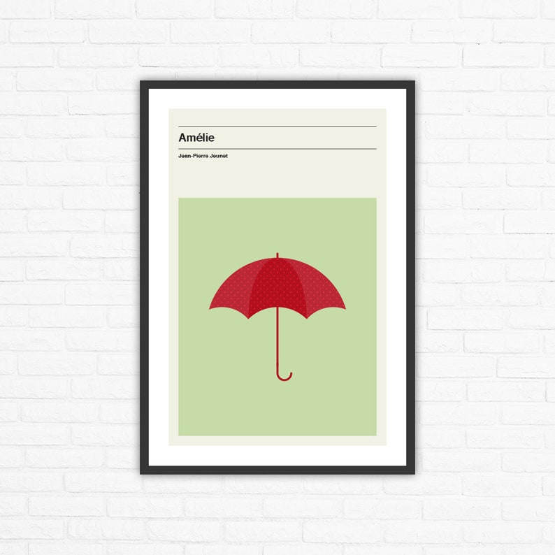 Amélie Minimalist Mid Century Movie Poster Jean-Pierre Jeunet image 0