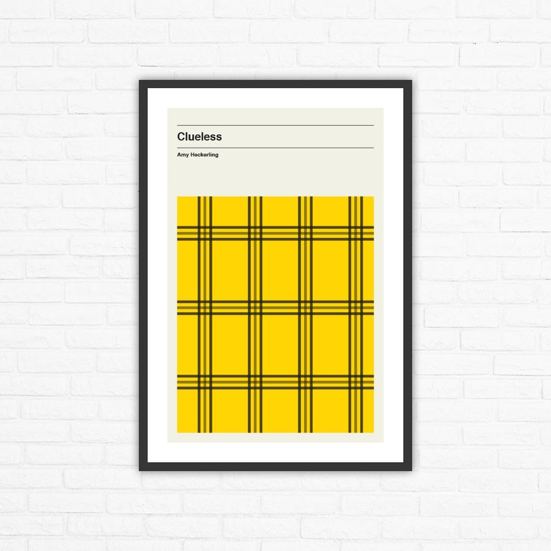 Clueless Minimalist Mid Century Movie Poster Amy Heckerling image 0