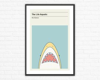 The Life Aquatic Jaguar Shark Minimalist Movie Poster, Wes Anderson