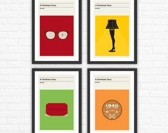 Set of 4 A Christmas Story, Minimalist Movie Posters