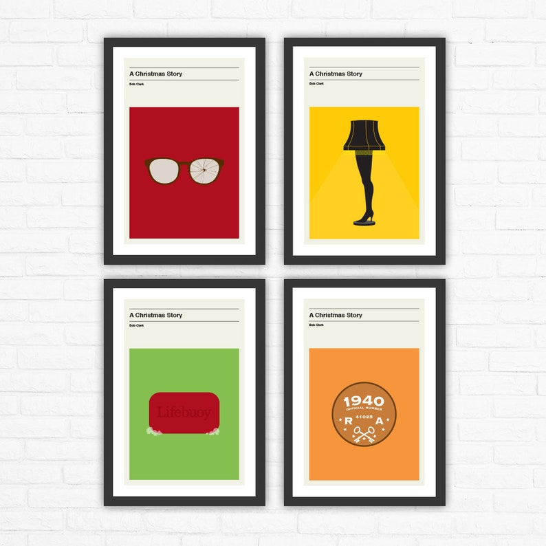 Set of 4 A Christmas Story Minimalist Movie Posters image 0