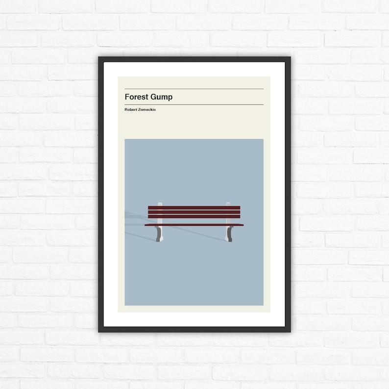 Forrest Gump Bench Minimalist Mid Century Movie Poster Robert image 0