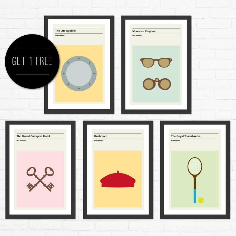 Set of 5 Wes Anderson Minimalist Movie Posters image 0