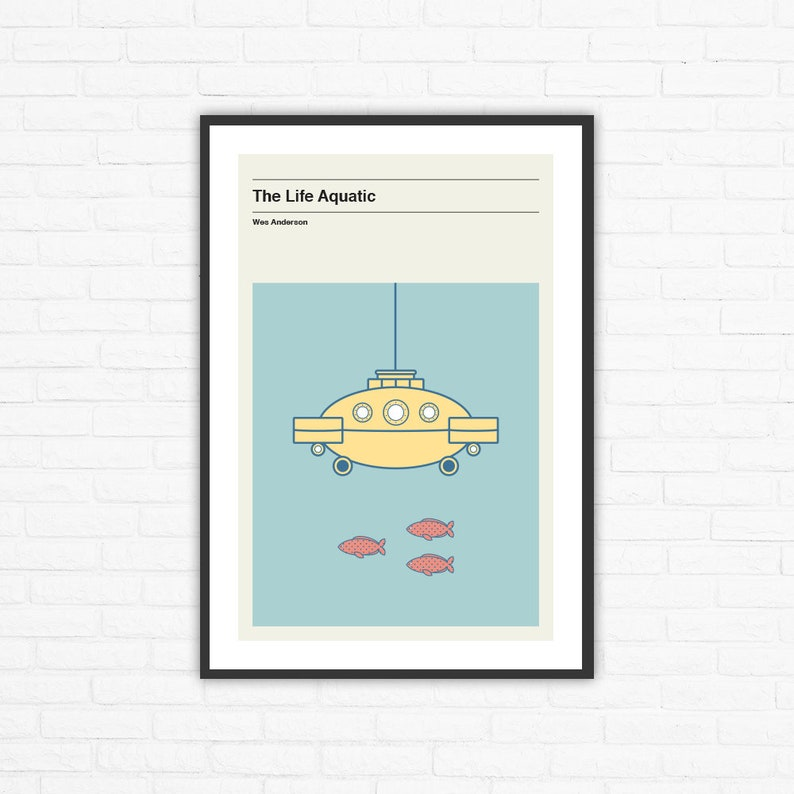 The Life Aquatic Submarine Jacqueline Minimalist Movie Poster image 0