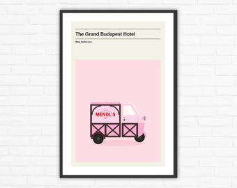 Wes Anderson, The Grand Budapest Hotel Mendl's Truck Minimalist Movie Poster