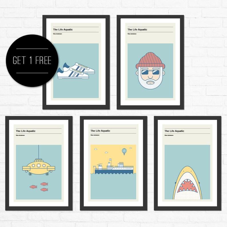The Life Aquatic Poster Set Minimalist Movie Poster Wes image 0