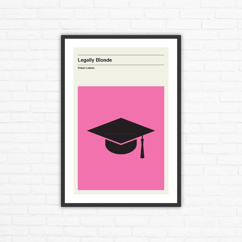 Legally Blonde Minimalist Mid Century Movie Poster Robert image 0