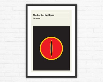 Lord of the Rings Minimalist Mid Century Movie Poster, Peter Jackson