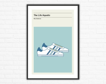 The Life Aquatic Adidas Rom Zissou Shoes Minimalist Movie Poster, Wes Anderson