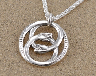 Double Ouroboros Pendant Necklace - Lost Wax Cast - Leather Cord or Sterling Wheat Chain