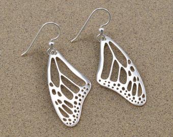 Monarch Wing Earrings - Sterling Silver - Lost Wax Cast