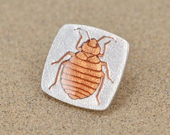 Bed Bug Pin - Sterling Silver - Lost Wax Cast with Resin Enamel