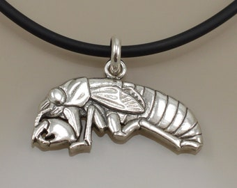 Cicada Nymph Pendant • Sterling Silver • Lost Wax Cast