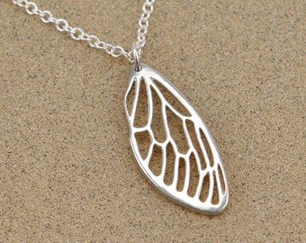 Cicada Wing Pendant - Insect Jewelry - Lost Wax Cast