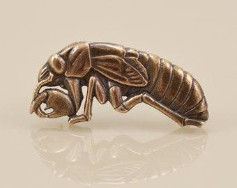 Cicada Nymph Pin • Solid Bronze • Lost Wax Cast