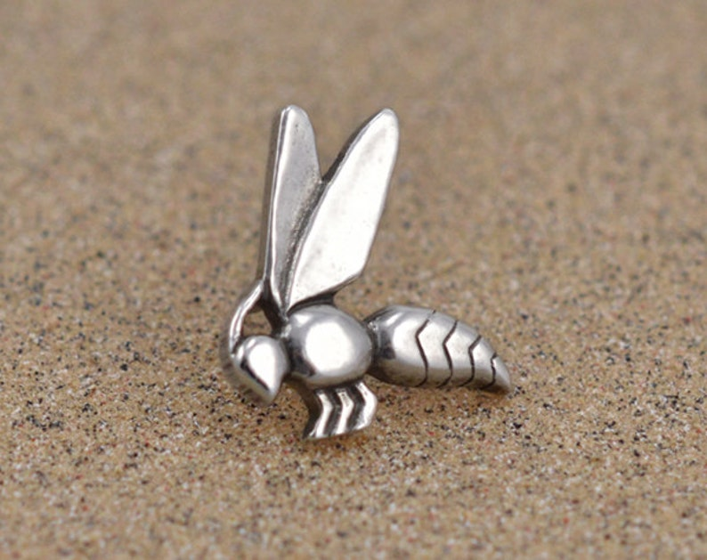 Egyptian Bee Hieroglyph Pin / Tie Tack  Sterling SIlver or Sterling Silver