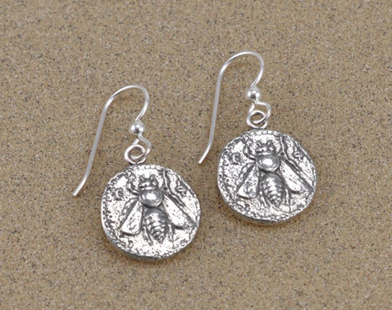 Ephesus Bee Coin Earrings  Sterling Silver with French Hooks image 0