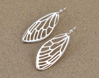 Cicada Wing Earrings - Sterling Silver - Lost Wax Cast