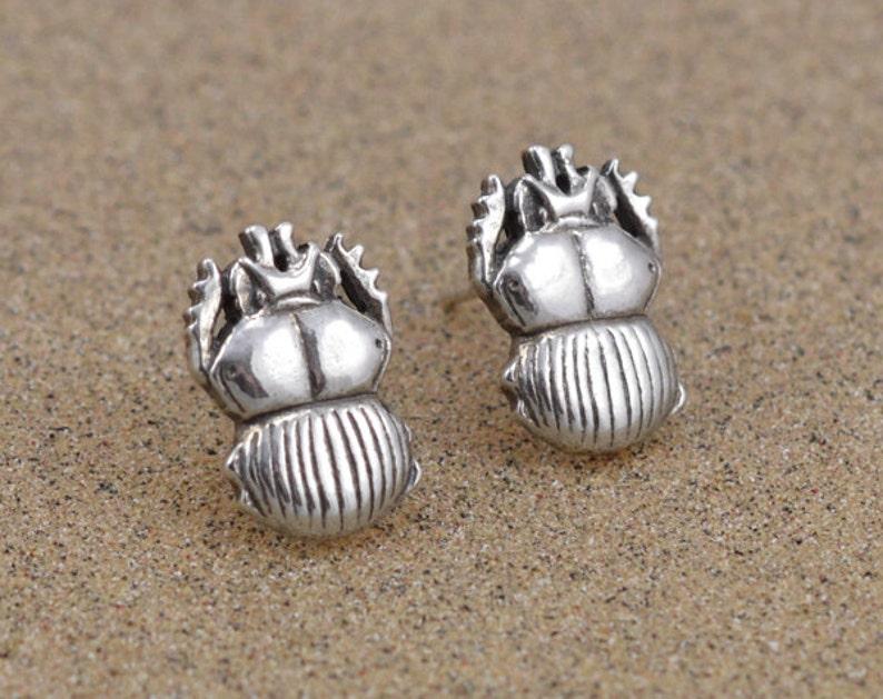Scarab Beetle Earrings  Sterling Silver image 0
