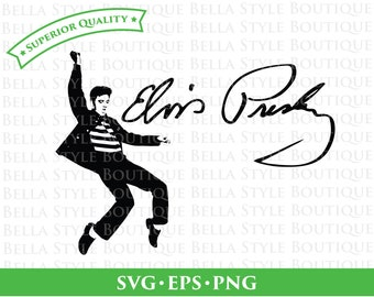 Elvis Presley Jailhouse Rock and Signature svg png eps cut file