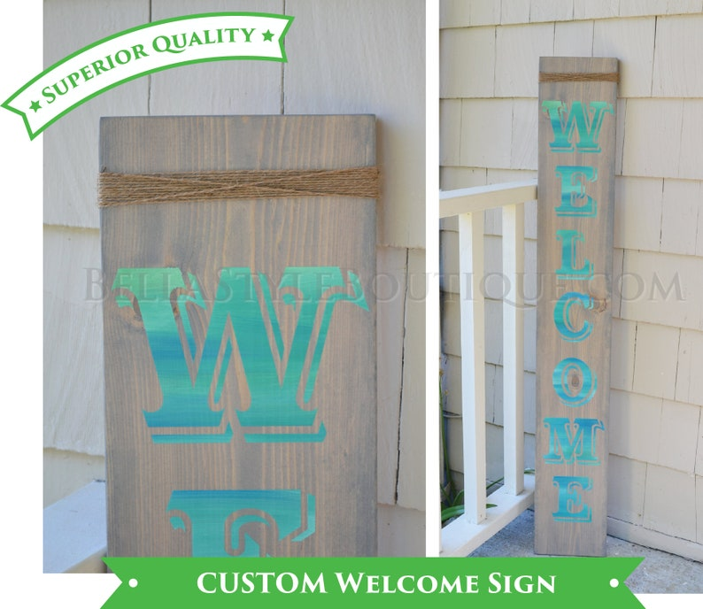Vertical Welcome Custom Wood Hand Painted Sign 4' image 0