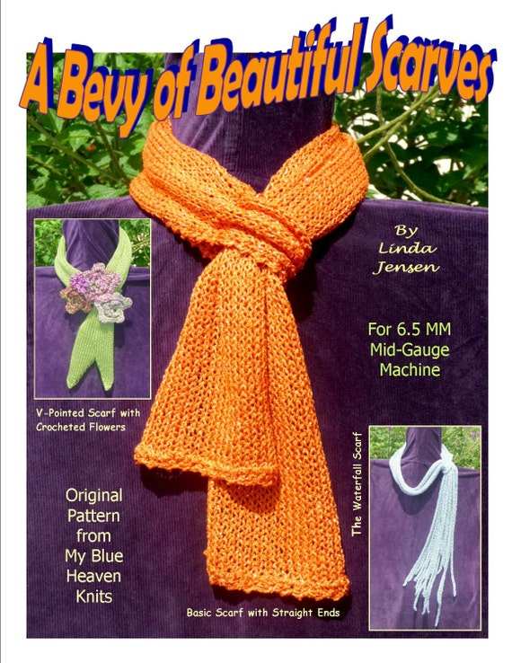 A Bevy Of Beautiful Scarves Machine Knit Pattern Etsy