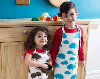 Hedgehog Kids Apron - Kitchen Craft Art Play Apron - Children's Cotton Apron with Hedgehogs - Childs Organic Apron - GOTS Certified
