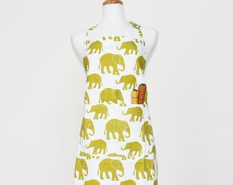Organic Cotton Citron Elephant Printed Apron