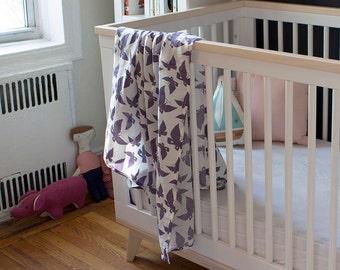 Organic Cotton Muslin Baby Swaddle Blanket - GOTS Certified Blanket - Gauze Baby Swaddling Cloth - Purple Butterfly Blanket