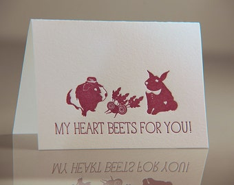 Letterpress Guinea Pig and Bunny Card  - Beets Valentine Card - Romantic Animal Card