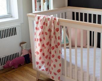 Organic Cotton Muslin Baby Swaddle Blanket - GOTS Certified Blanket - Gauze Baby Swaddling Cloth - Red Ladybug Blanket