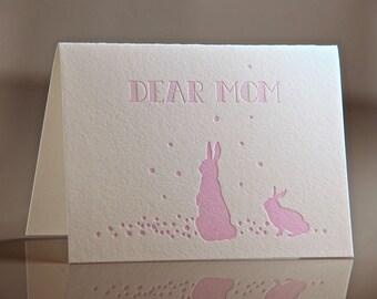 Letterpress Bunny Card - Mothers Day Card - Pink Bunny Rabbit Greeting Card - Dear Mom Card