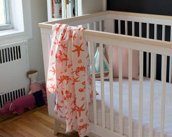 Organic Cotton Muslin Baby Swaddle Blanket - GOTS Certified Blanket - Gauze Baby Swaddling Cloth - Coral Sea Creature Blanket