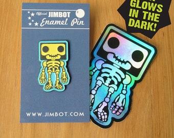 Official JIMBOT Enamel Pin and Sticker Combo #5 - Glow Skeleton