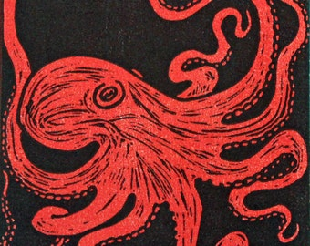Red and Gray Octopus linocut