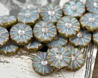 16x17mm 2054 Czech Glass Beads Lily Flower Picasso Beads Flower Beads Floral Beads 2pcs -